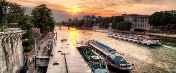A romantic view of Paris from a cruise boat on the Seine